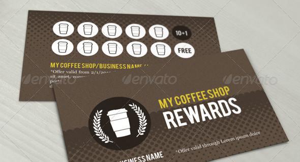 Coffee shop reward loyalty card